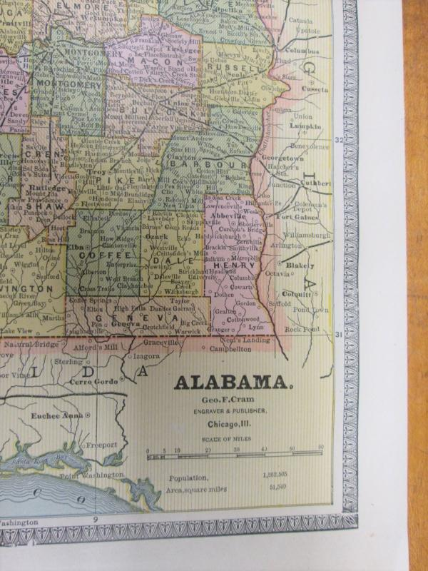 Antique Map Alabama Florida Crams 1883