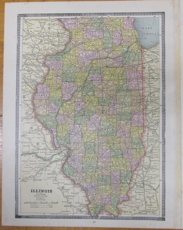 Map Michigan Wisconsin Large Fold Out Crams 1883 Illinois