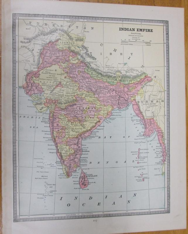 Map China Large Fold Out Crams 1883 Indian Empire