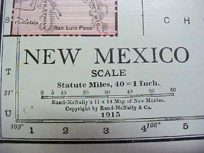 Antique Map New Mexico 1916 Nice Details & Colors