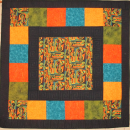 Quilt Abstract Art Wall Hanging Black Orange Teal Olive Picasso