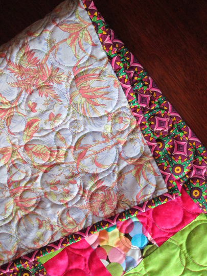 Table Runner Lime Hot Pink Circles Quilted Modern