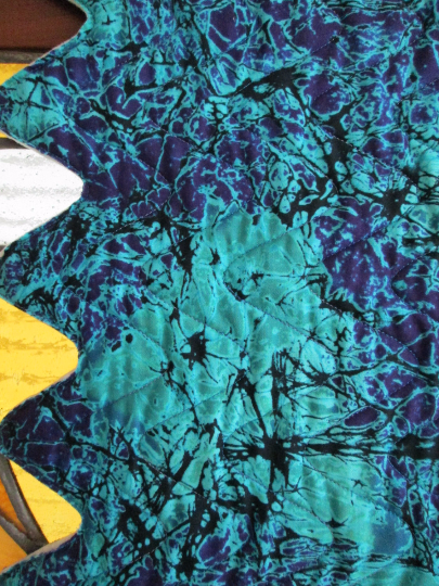 Batik Table Runner Quilted Abstract Aqua Purple Black