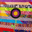 Quilt Scrappy Twin Throw Wall Hanging Posies Bright