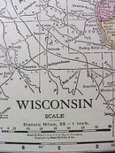 Antique Map Wisconsin 1916 Rand McNally