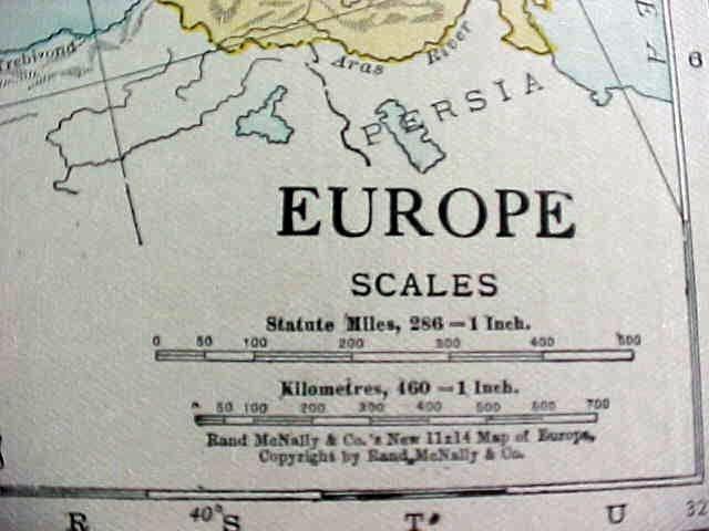 Antique Map Europe British Isles 1916 Rand McNally
