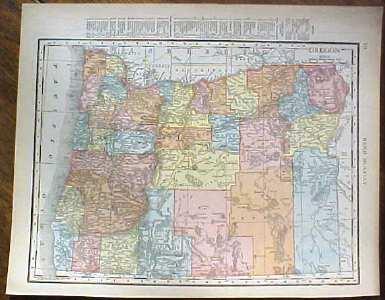 Antique Map Oregon 1915 Great Colors