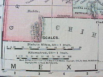 Antique Map Colorado New Mexico 1901 Colorful