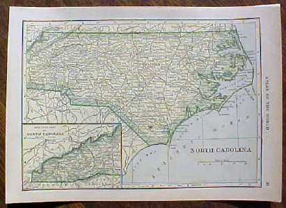 Antique Map North & South Carolina 1910