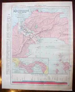 Antique Map Central America Panama 1909 Nice Colors
