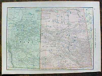 Antique Map Manitoba Alberta & Saskatchewan 1910