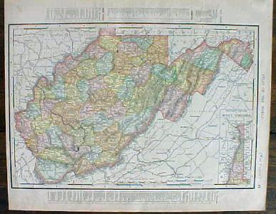 Antique Map North Carolina West Virginia 1901 Colorful