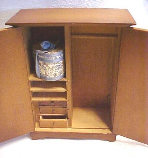 Doll House Wardrobe Armoire  Wood + Hat box