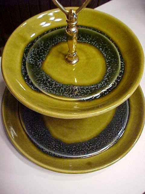 California Pottery Tidbit Tray Green