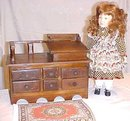 Desk Miniature Wood Primitive Large Doll Size Folk Art