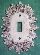Brass Switchplate Scrolled Leaves Tuscany  White Washed
