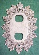 Brass Switchplate Scrolled Leaves Tuscany  White 2 Plug