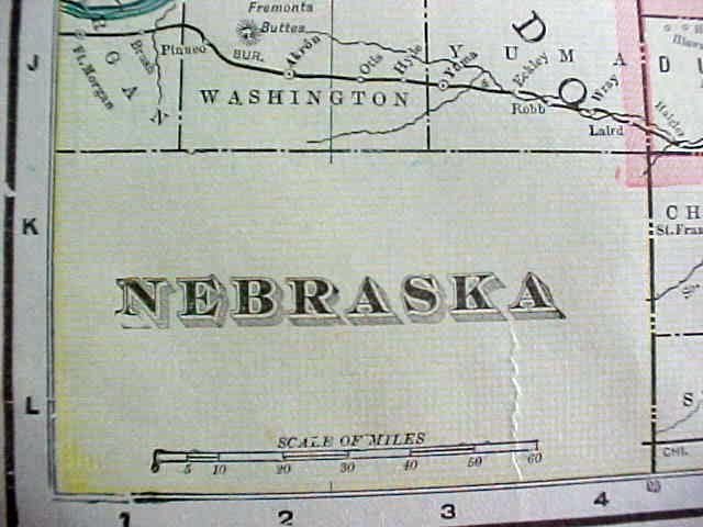 Crams Map Kansas Nebraska 1898 Antique