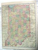 Crams Map Indiana 1898 Antique
