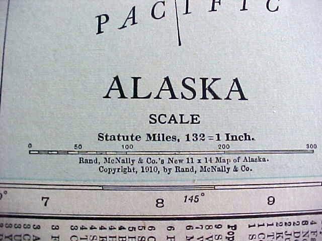 Antique Map Alaska Canada 1912