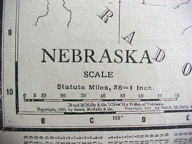 Antique Map Kansas Nebraska 1912