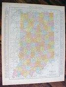 Antique Map Indiana Cleveland Ohio 1912