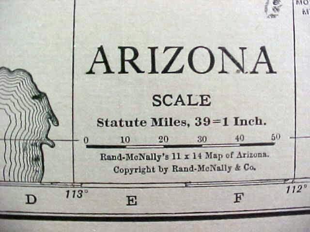 Antique Map Arizona Nevada 1912