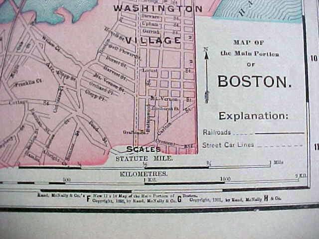 Antique Map Rhode Island Boston 1912