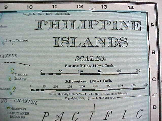 Antique Map Philippine Islands 1912