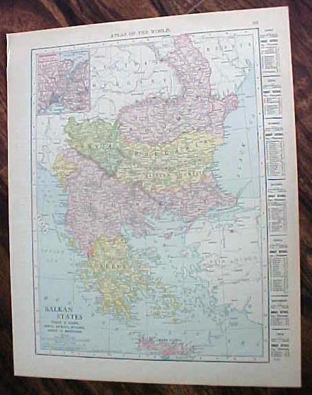 Antique Map Russia Balkan States 1912