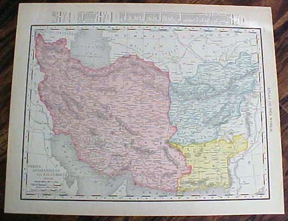 Antique Map Japan Persia Afghanistan 1912