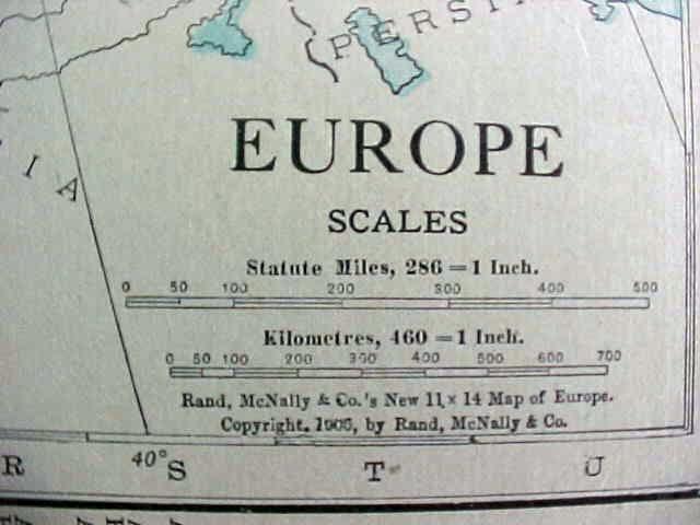 Antique Map British Isles Europe 1912