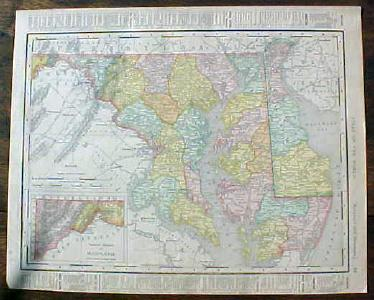 Antique Map Maryland Delaware & Baltimore 1901