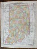 Antique Map Indiana State & Cleveland Street Map 1901 Colorful