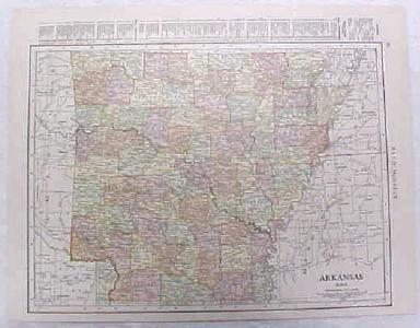 Antique Map Arkansas 1916 Nice Details & Colors