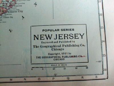 Antique Map of Pennsylvania & New Jersey 1911