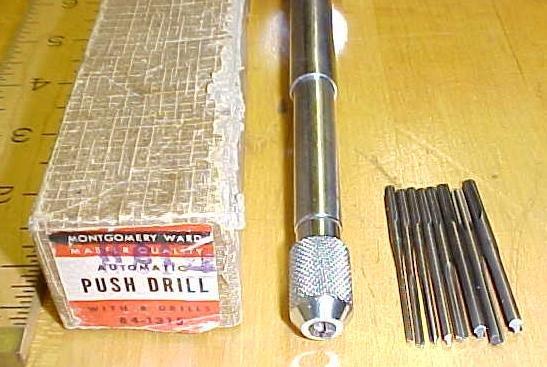 Montgomery Ward Automatic Push Drill w/ 8 Bits Box