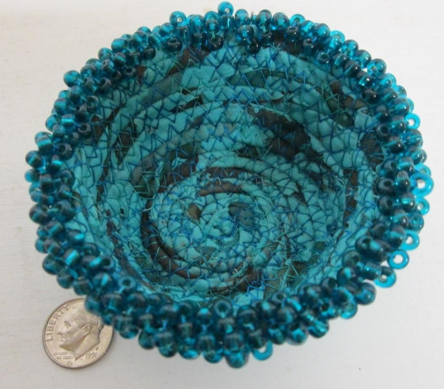 Bowl Woven Fabric Hand Made Beaded