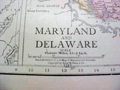 Antique Map Maryland Delaware 1916 Nice Details & Colors