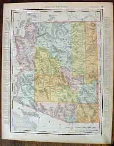 Antique Map Arizona Nevada 1901 Colorful