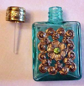Perfume Bottle Miniature Ornate Filigree Aqua