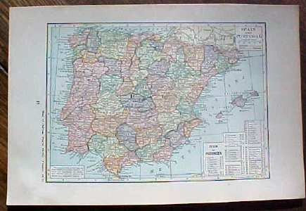 Antique Map Spain Portugal 1923 Nice Size
