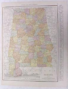 Antique Map Alabama 1916 Nice Details & Colors