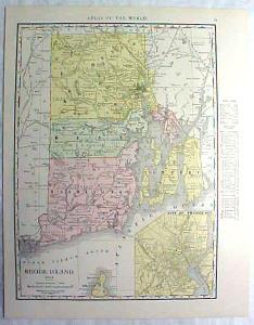 Antique Map Rhode Island 1916 Nice Details & Colors