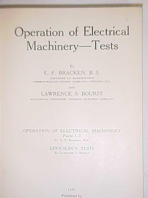 Operation of Electrical Machinery Tests 1937 International Textbook