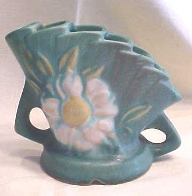 Roseville Frog Peony 47-4 Ca 1940's Blue Green