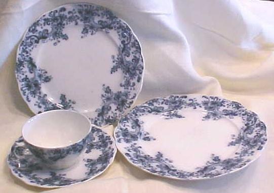 Teacup Saucer Luncheon & Dinner Plate Belfort Blue Transferware