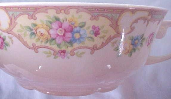 Porcelain Bowl (4) Roses Double Handles 5 inch