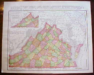 Antique Map Virginia Maryland Delaware 1909 Nice Colors