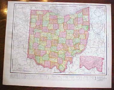 Antique Map Ohio Indiana 1909 Nice Colors